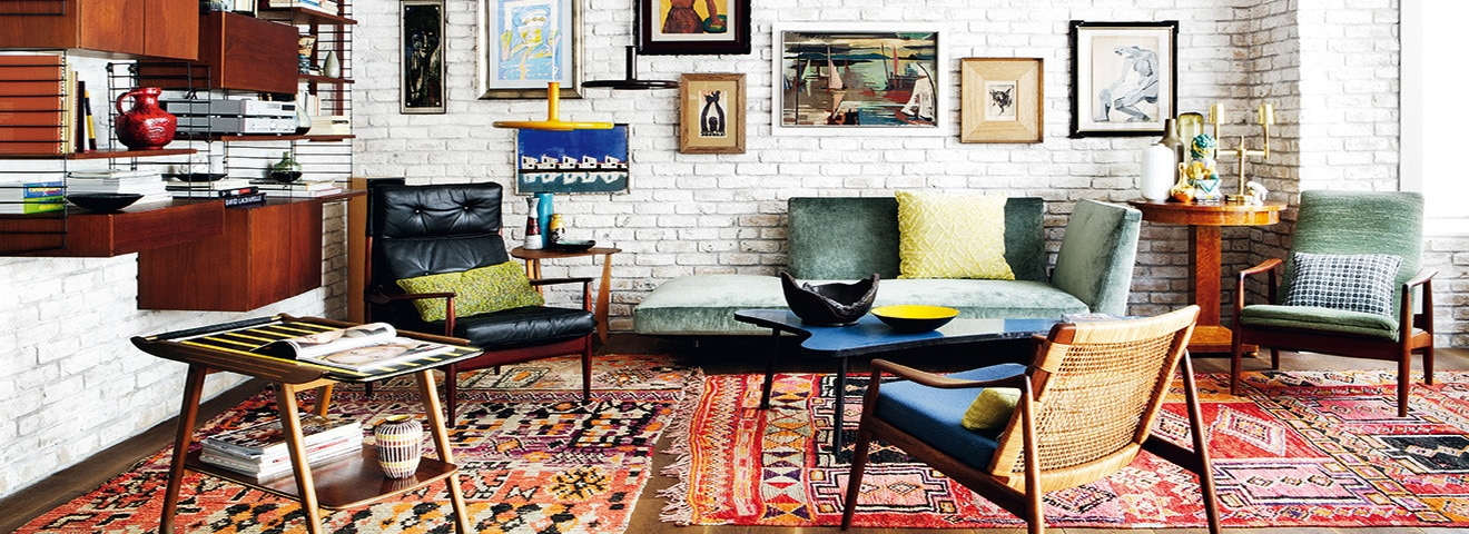 Boho Chic Interior With vintage Moroccan Bohemian Rugs by Nazmiyal