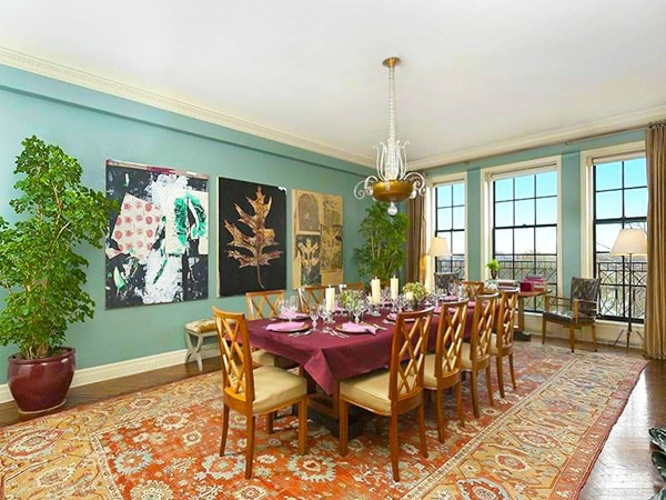 Dining Room Interior Decor With Antique Persian Heriz Rug by Nazmiyal
