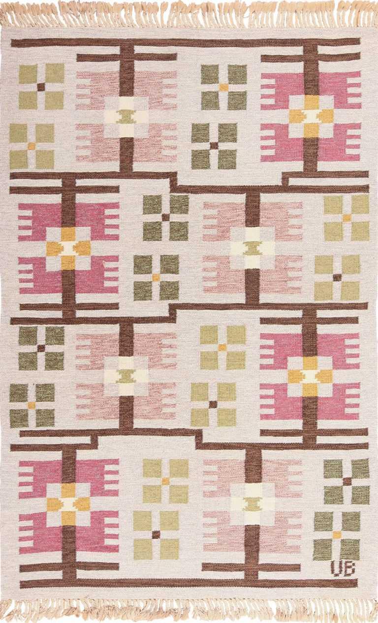 Vintage Geometric Scandinavian Flat Woven Kilim Rug by Ulla Brandt 49565 by nazmiyal