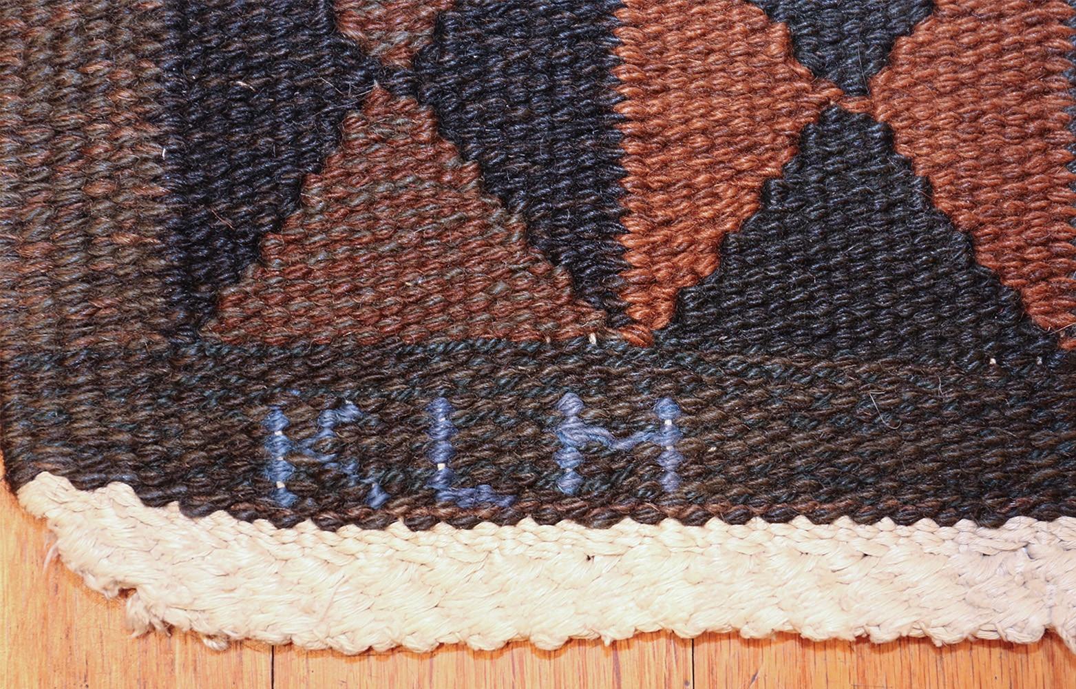 geometric vintage scandinavian rug by kristianstad lans hemslöjd 49587 klm Nazmiyal