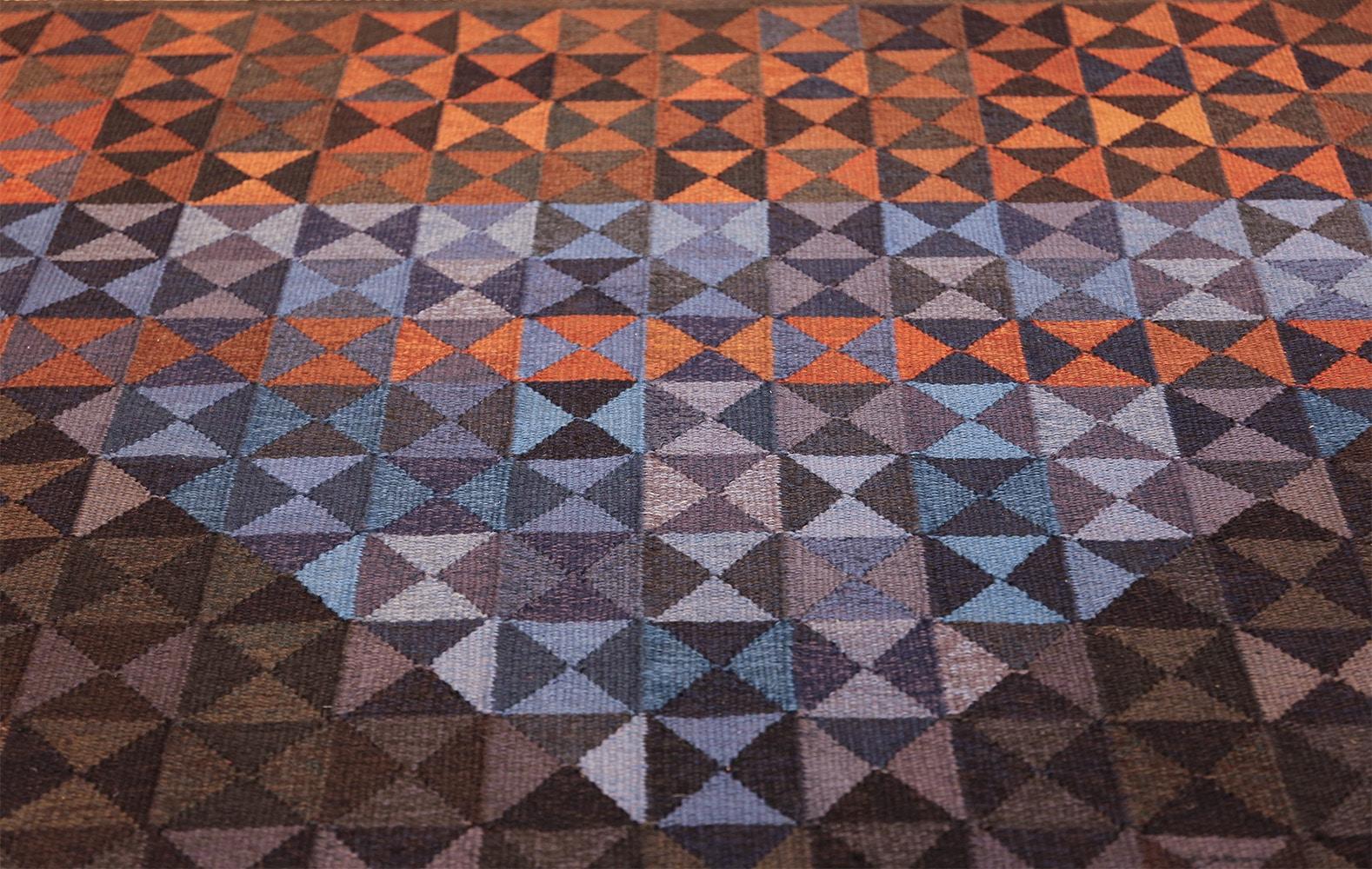 geometric vintage scandinavian rug by kristianstad lans hemslöjd 49587 top Nazmiyal