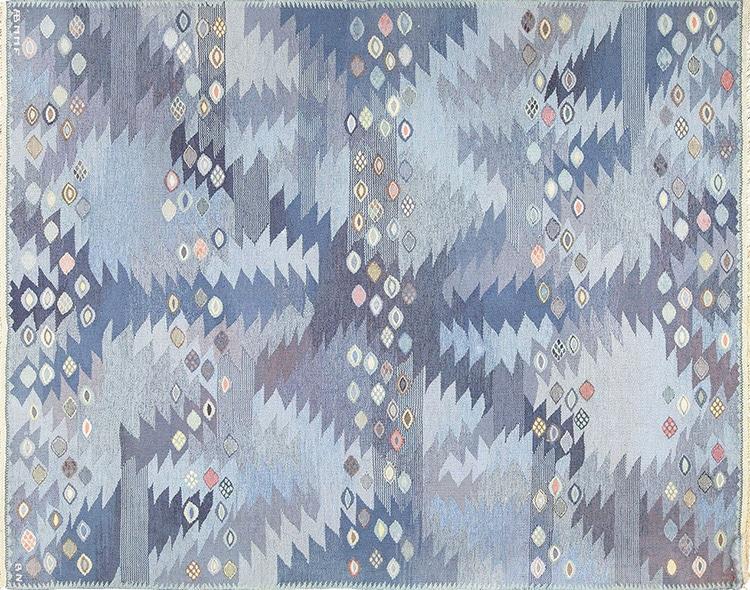 Marta Maas Scandinavian Vintage Blue Rug By Barbro Nilsson by Nazmiyal