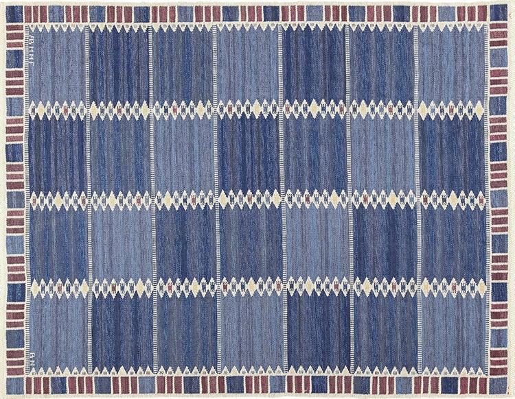 Scandinavian Marta Maas Kilim Vintage Blue Rug By Barbro Nilsson by Nazmiyal
