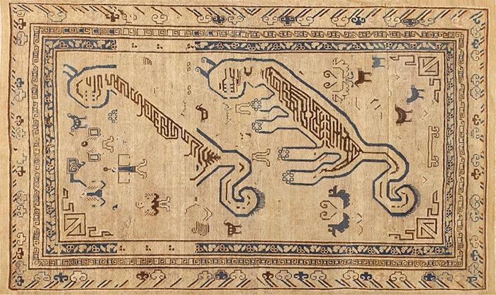 Tribal and Primitive Khotan Tiger Design Rug by nazmiyal