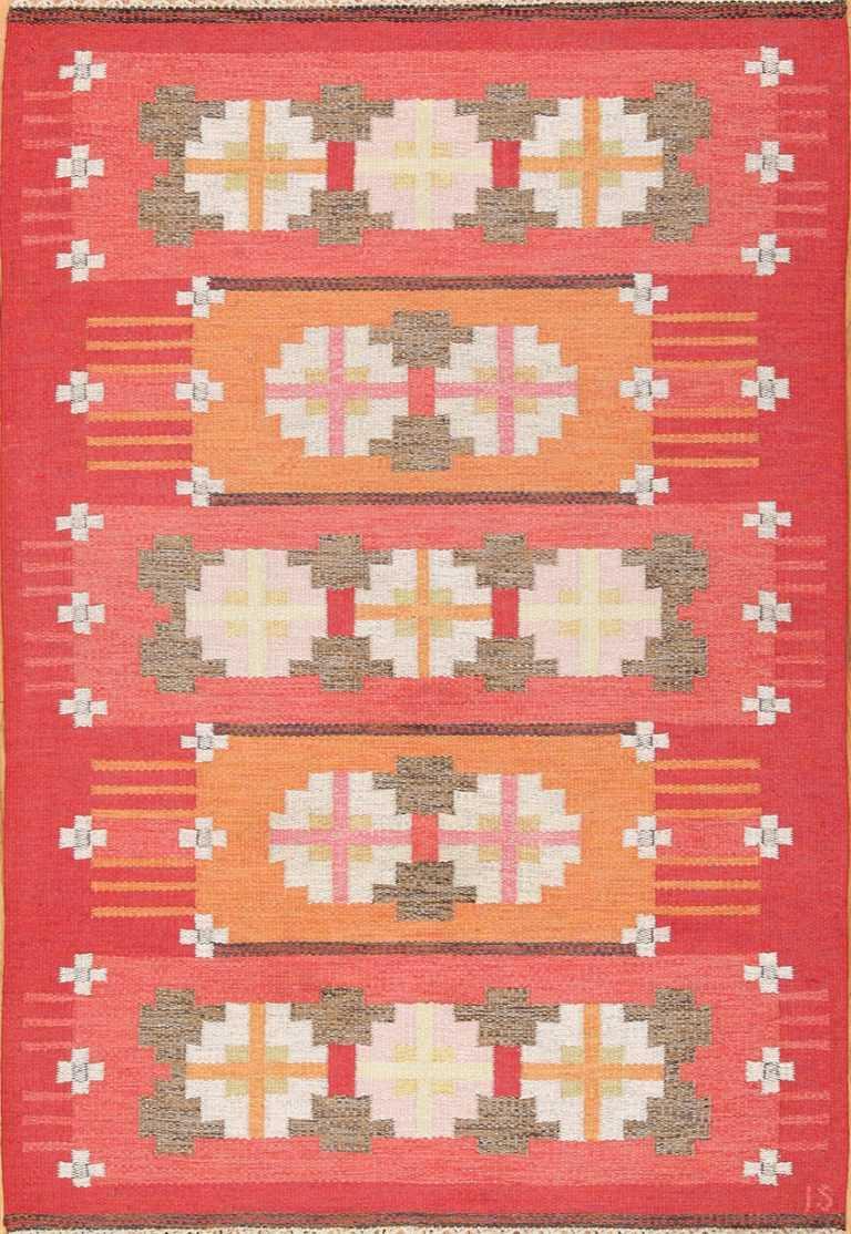 Vintage Flat Woven Kilim Scandinavian Ingegerd Silow Rug 49583 by Nazmiyal