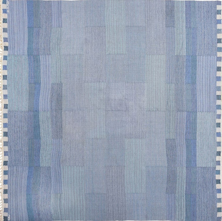Vintage Swedish Kilim Blue Rug By Marianne Richter For Marta Maas by nazmiyal