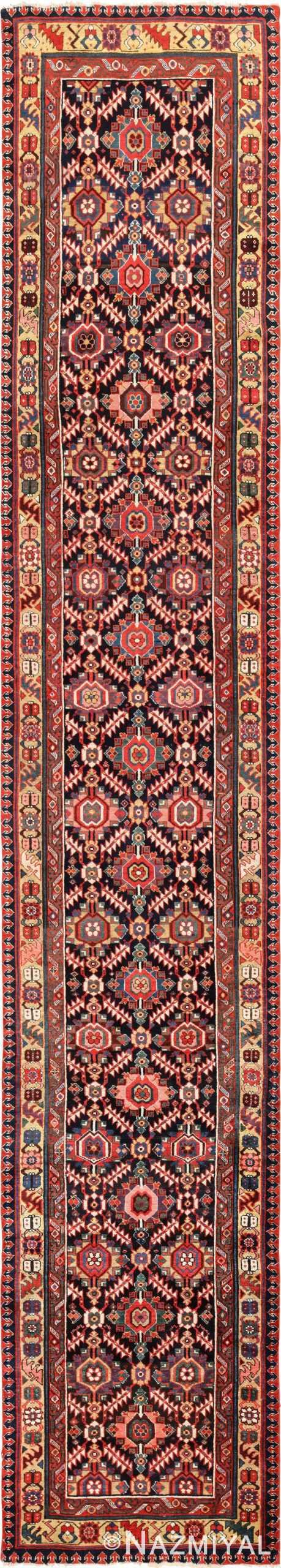 Tribal Long Antique Navy Blue Northwest Persian Runner Rug #49586 - nazmiyal