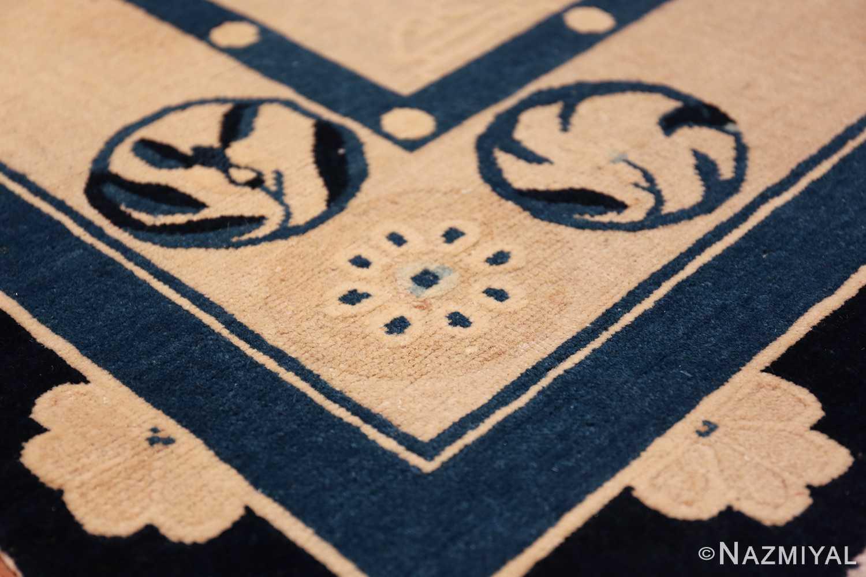 antique room size chinese rug 49582 half flower Nazmiyal