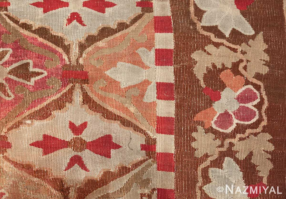 antique square french aubusson rug 47138 border Nazmiyal