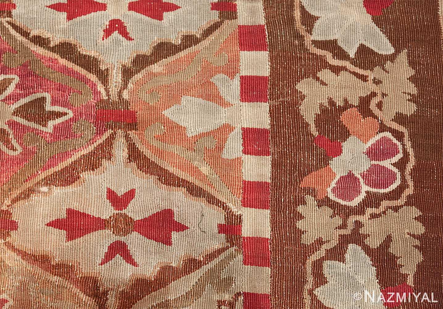 antique square french aubusson rug 47138 border Nazmiyal