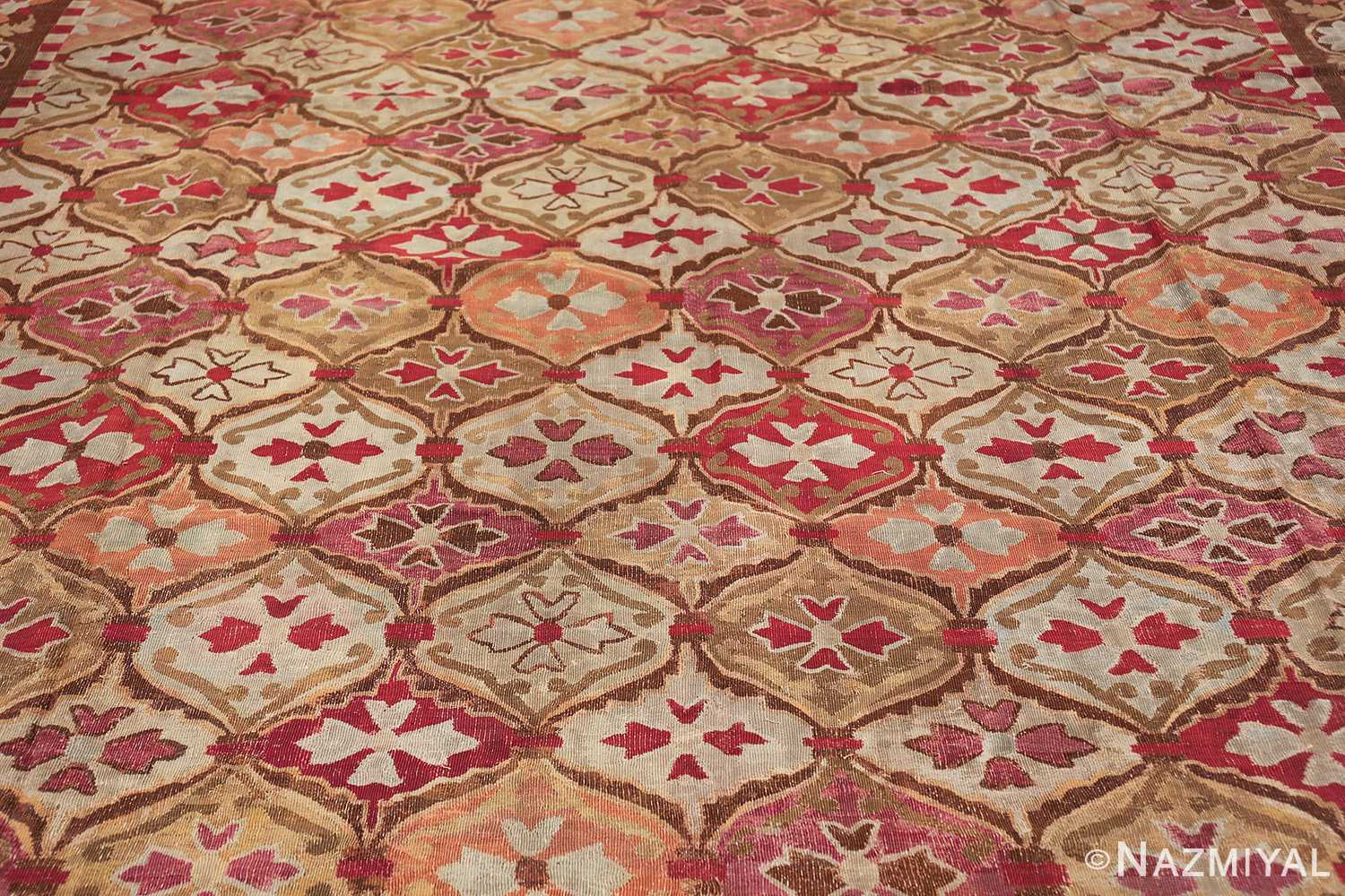 antique square french aubusson rug 47138 field Nazmiyal