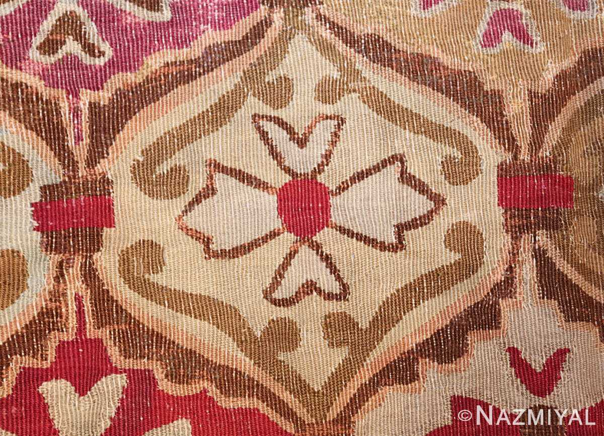 antique square french aubusson rug 47138 flower Nazmiyal