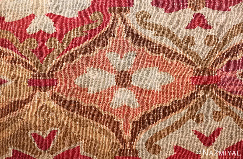 antique square french aubusson rug 47138 ivory Nazmiyal