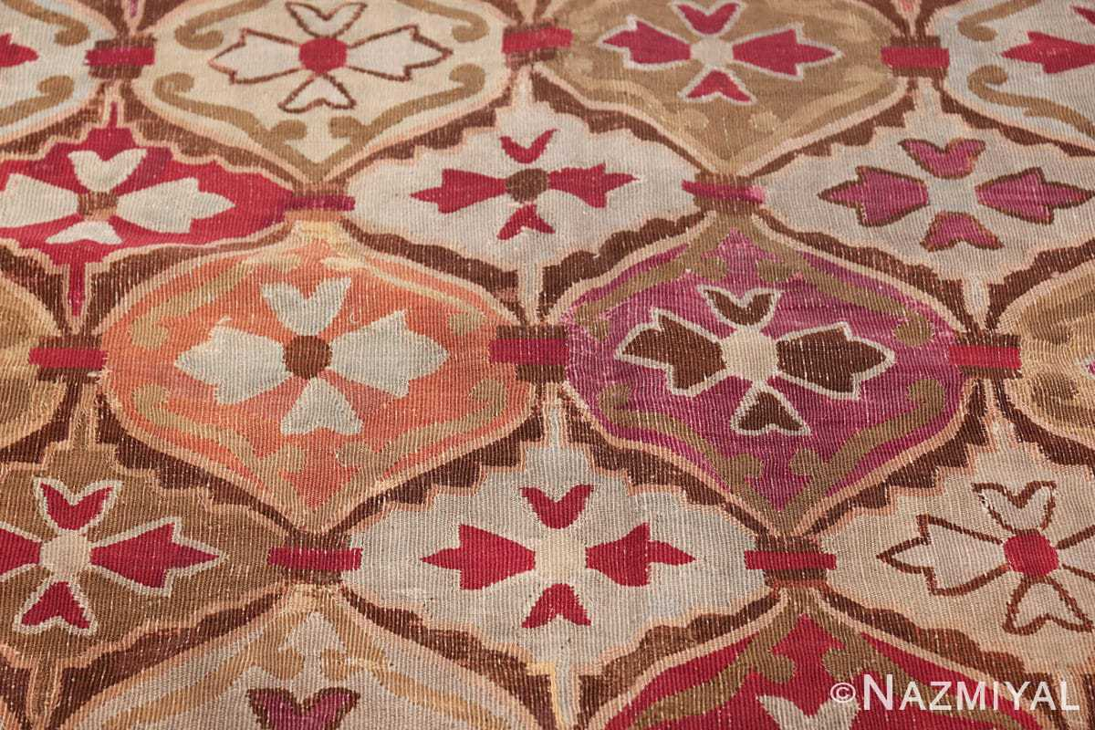 antique square french aubusson rug 47138 orange Nazmiyal
