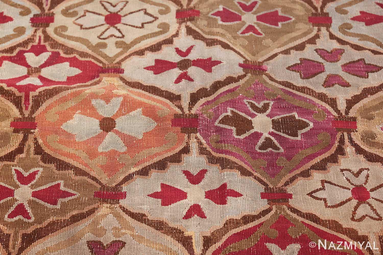 antique square french aubusson rug 47138 orange Nazmiyal