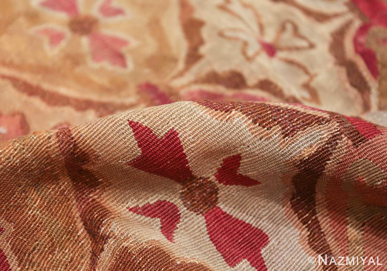 antique square french aubusson rug 47138 pile Nazmiyal