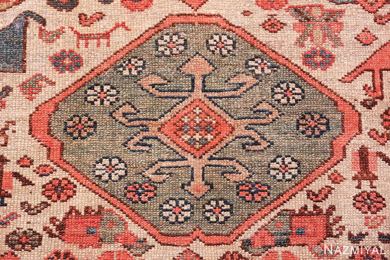 antique tribal ivory background bakshaish persian rug 49508 green medallion Nazmiyal