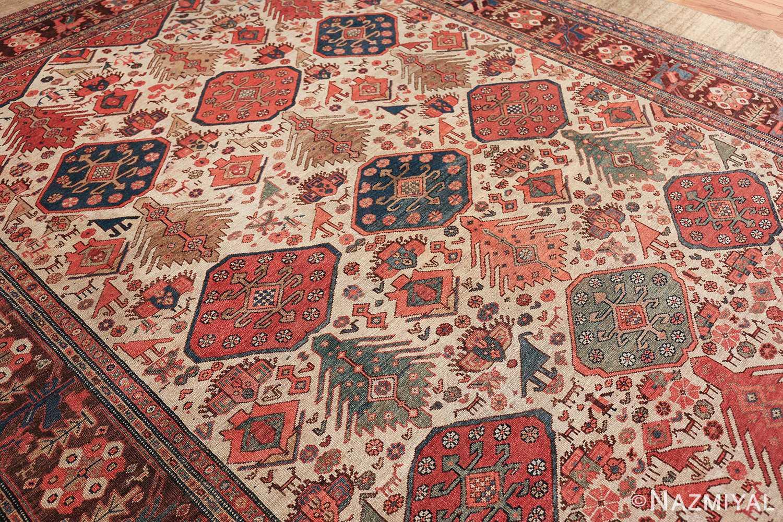 antique tribal ivory background bakshaish persian rug 49508 oblique Nazmiyal