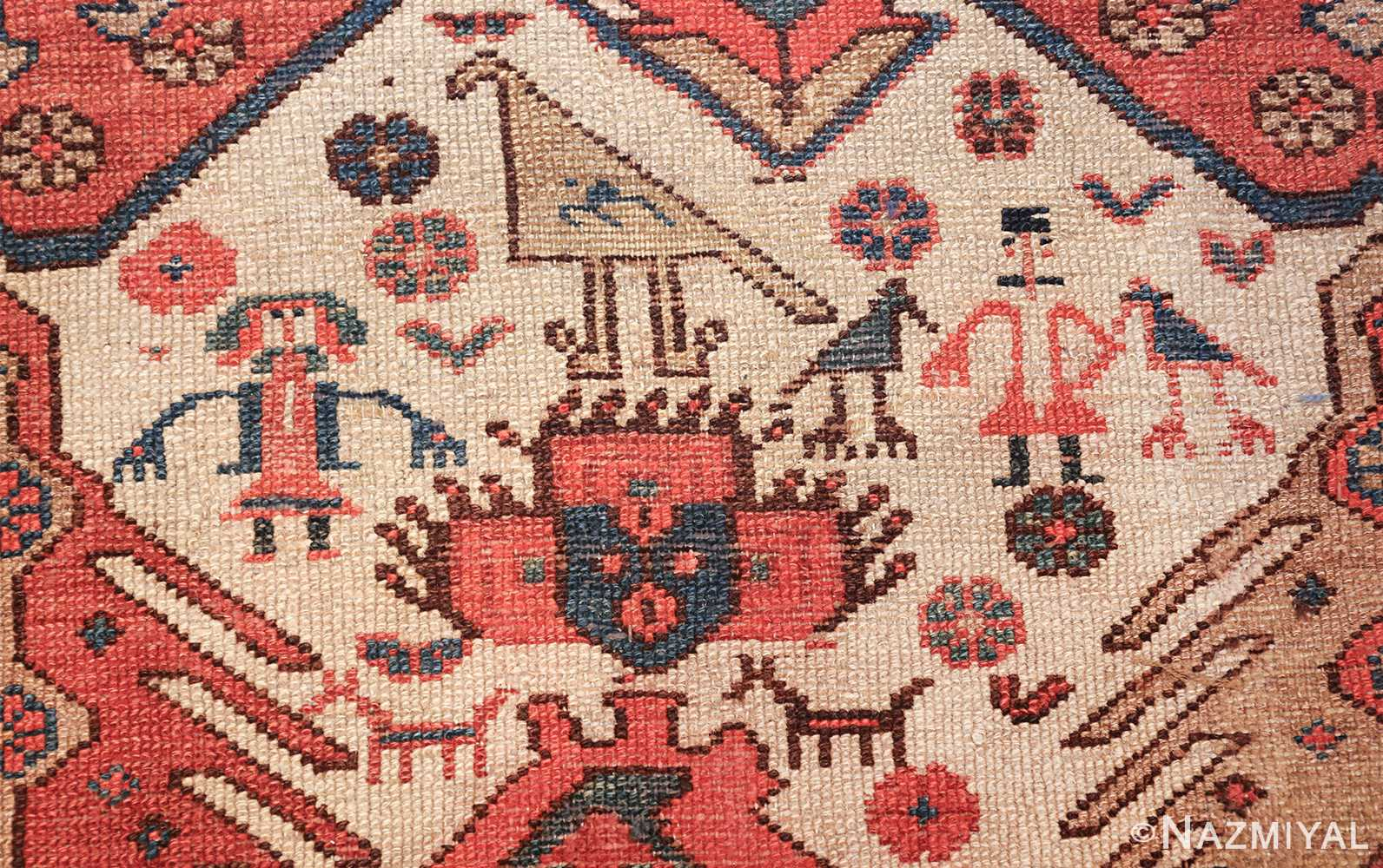 antique tribal ivory background bakshaish persian rug 49508 red hair Nazmiyal
