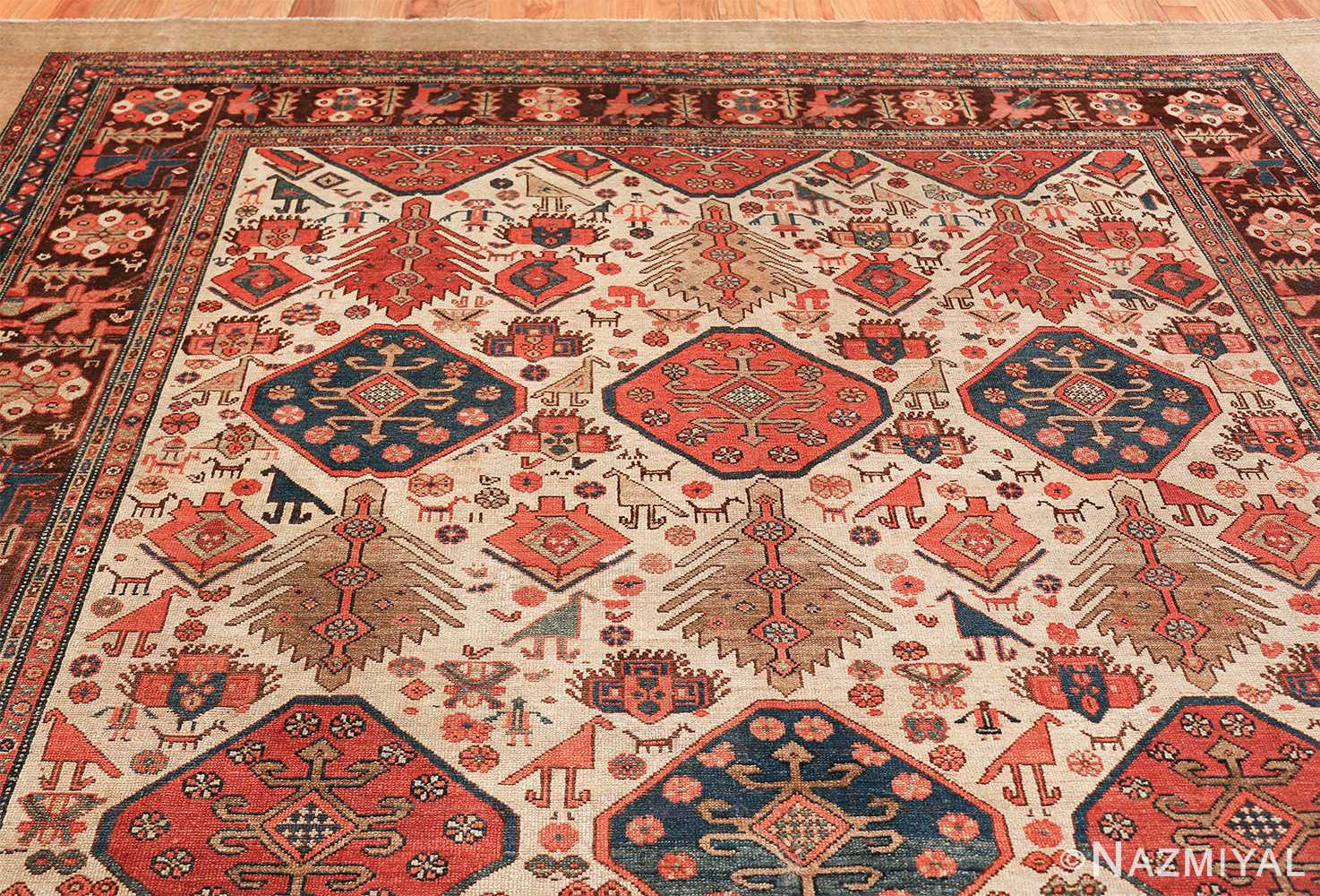 antique tribal ivory background bakshaish persian rug 49508 top Nazmiyal