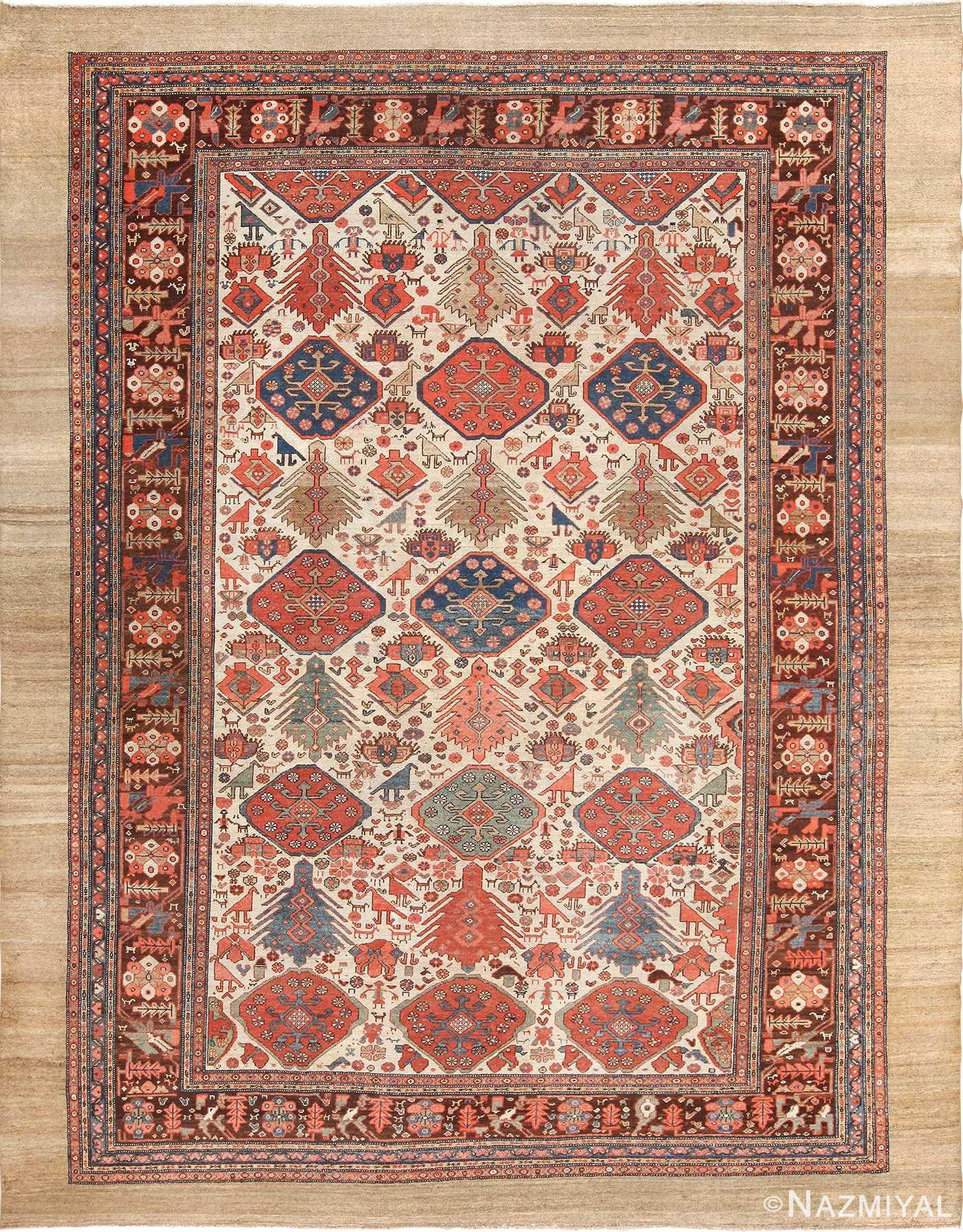 Ivory Background Tribal Antique Persian Bakshaish Rug