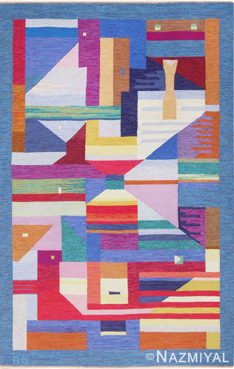 Colorful Vintage Scandinavian Agda Osterberg Kilim Rug 49573 by Nazmiyal