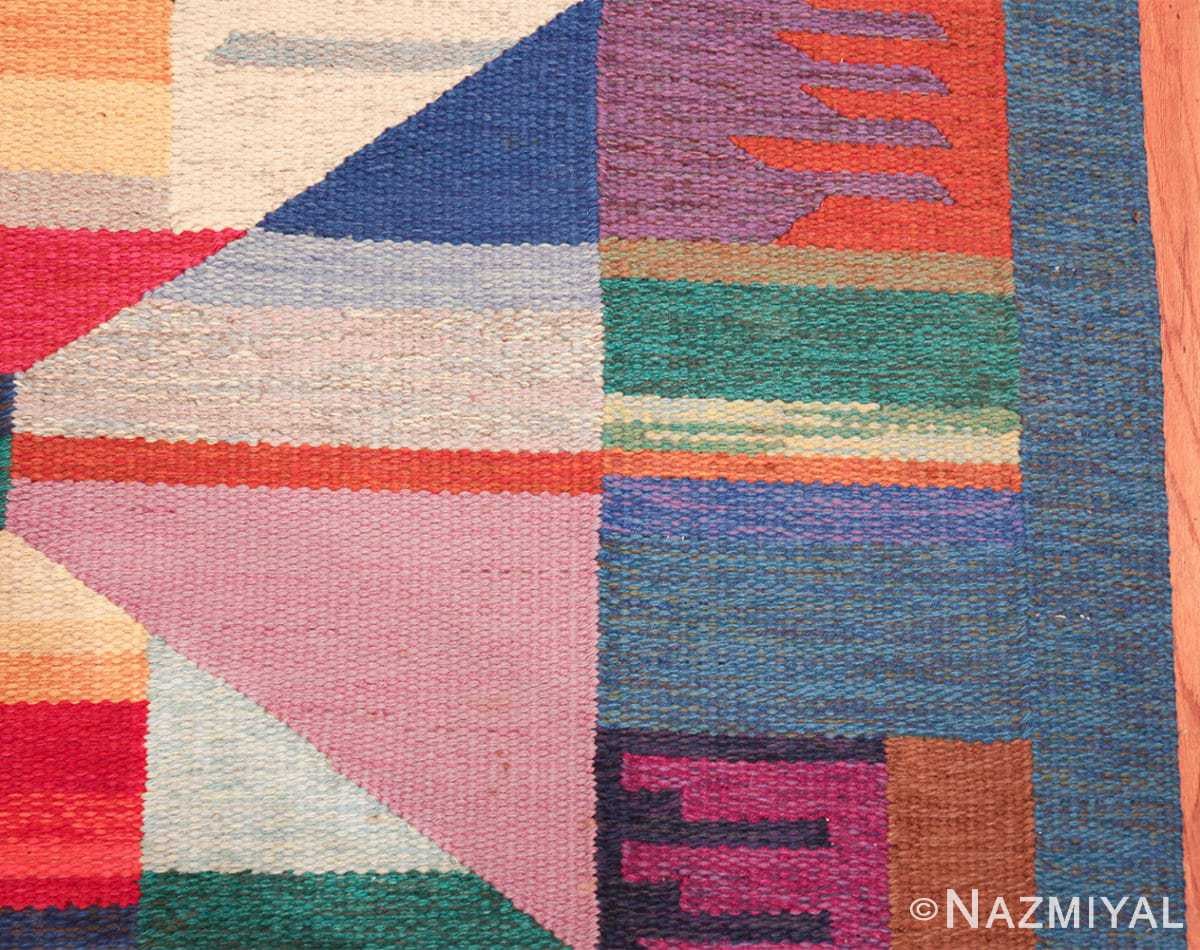 colorful vintage scandinavian kilim rug by agda osterberg 49573 border Nazmiyal