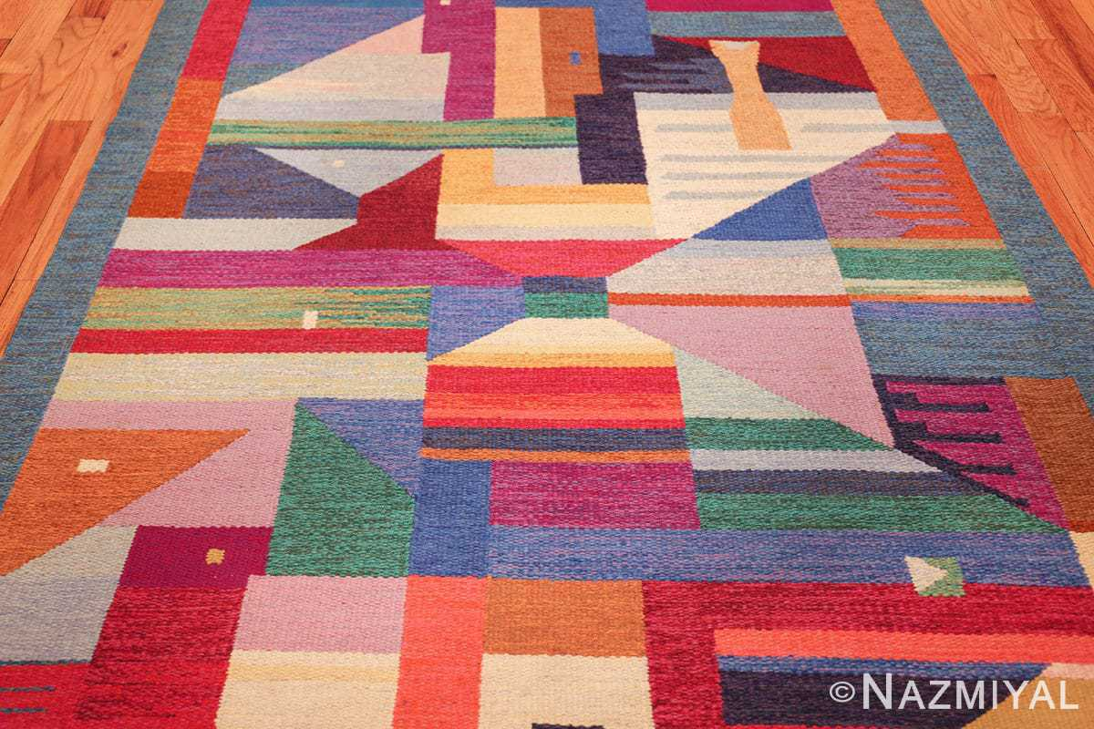 colorful vintage scandinavian kilim rug by agda osterberg 49573 field Nazmiyal