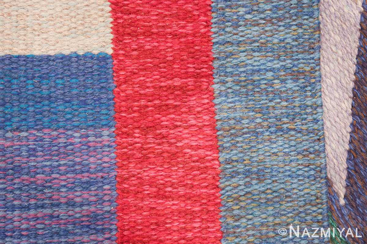 colorful vintage scandinavian kilim rug by agda osterberg 49573 knots Nazmiyal