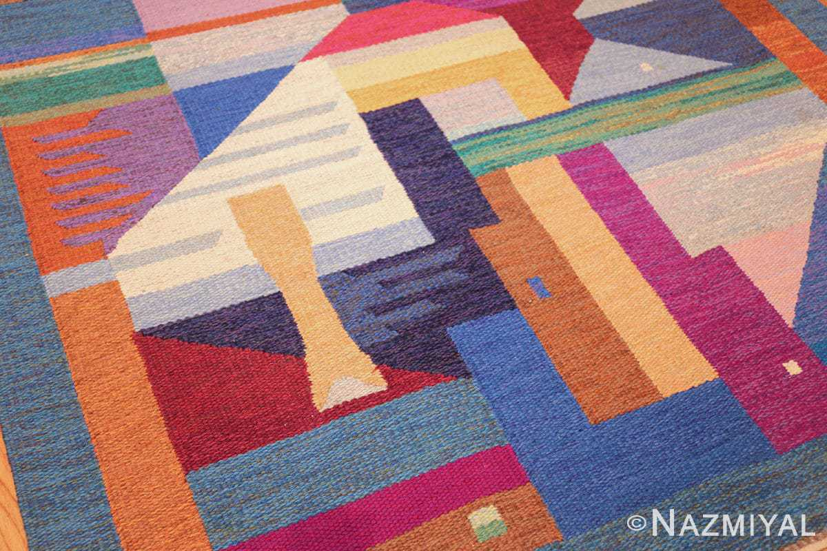 colorful vintage scandinavian kilim rug by agda osterberg 49573 shape Nazmiyal