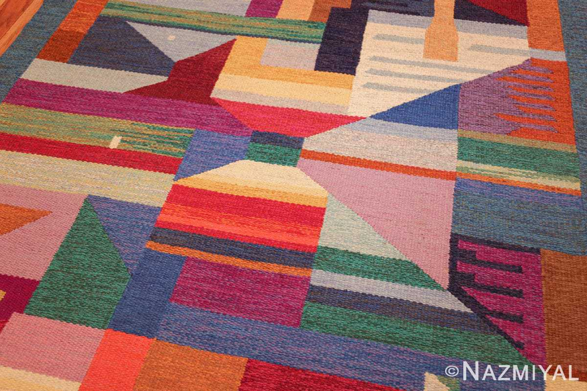 colorful vintage scandinavian kilim rug by agda osterberg 49573 side Nazmiyal