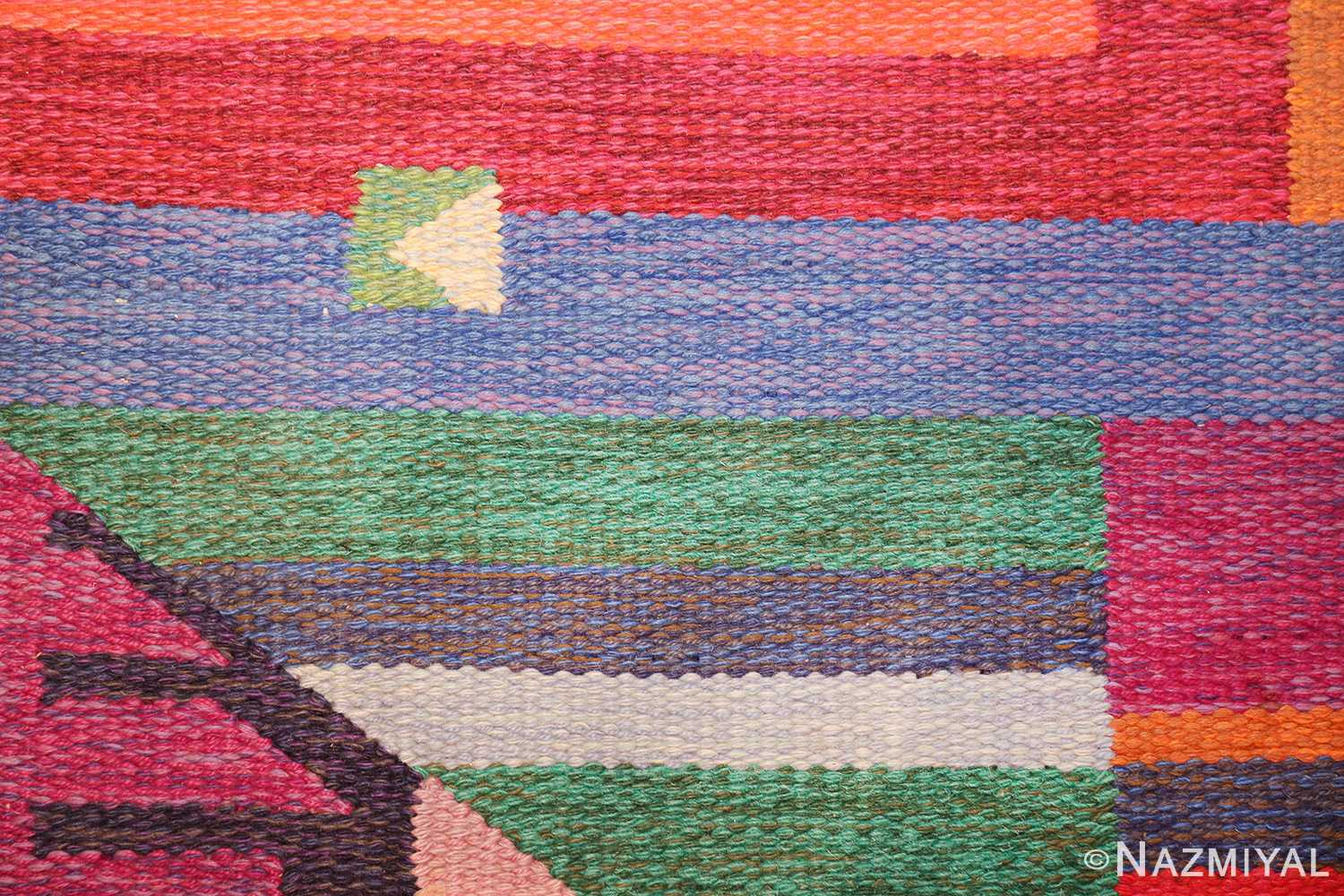 colorful vintage scandinavian kilim rug by agda osterberg 49573 triangle Nazmiyal