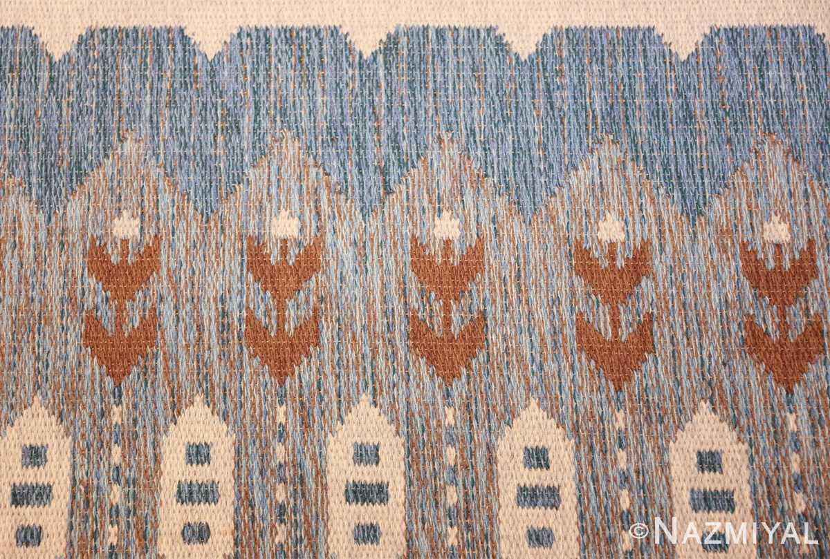 double sided vintage scandinavian rug 49567 brown flowers Nazmiyal