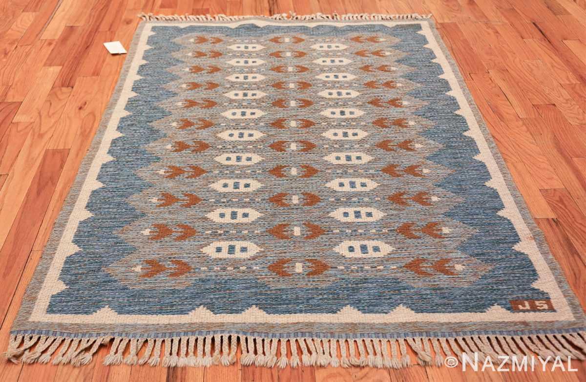 double sided vintage scandinavian rug 49567 light blue Nazmiyal