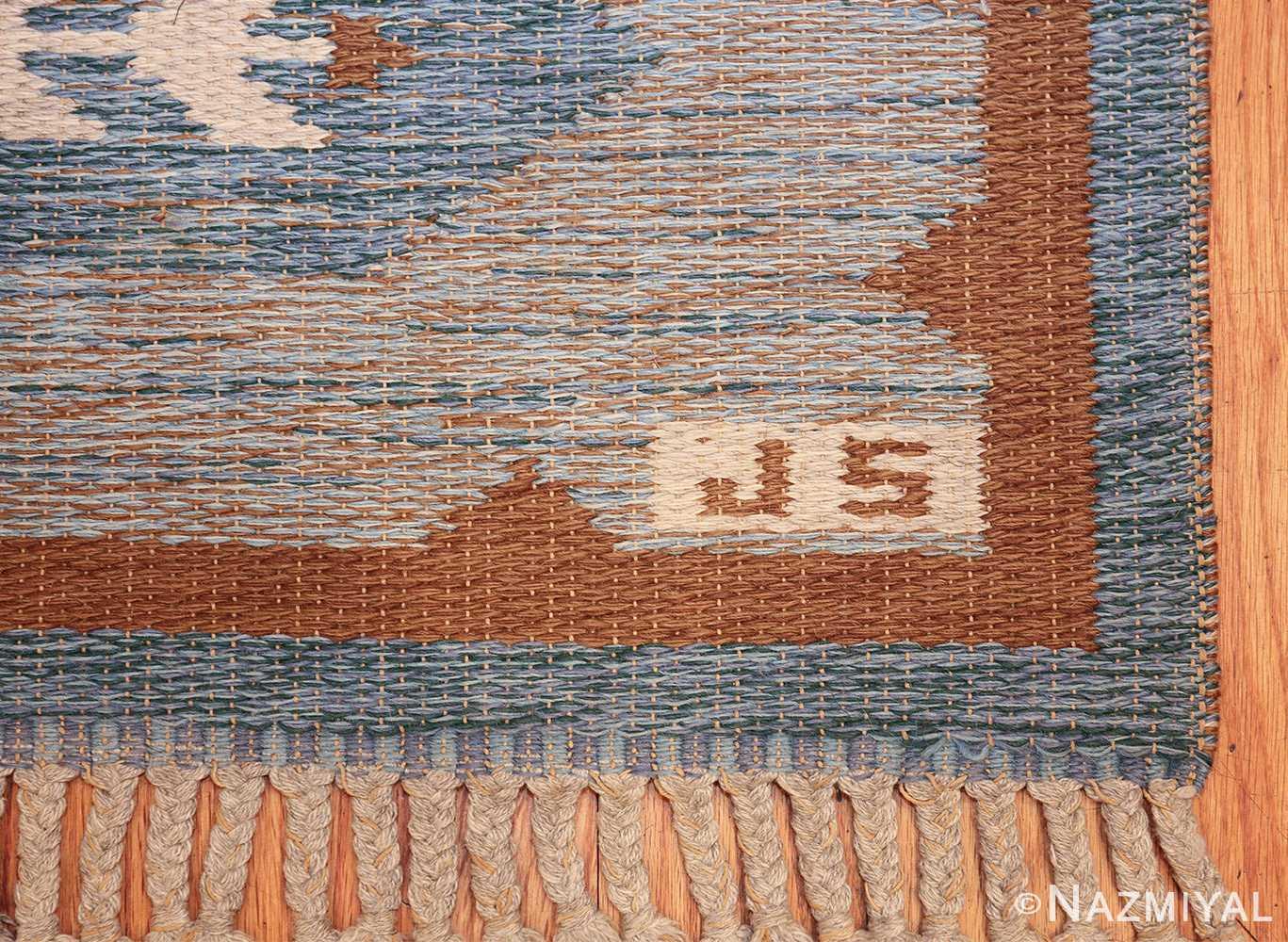 double sided vintage scandinavian rug 49567 signature Nazmiyal