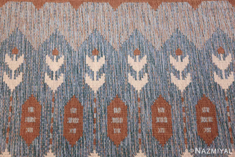 double sided vintage scandinavian rug 49567 white flowers Nazmiyal