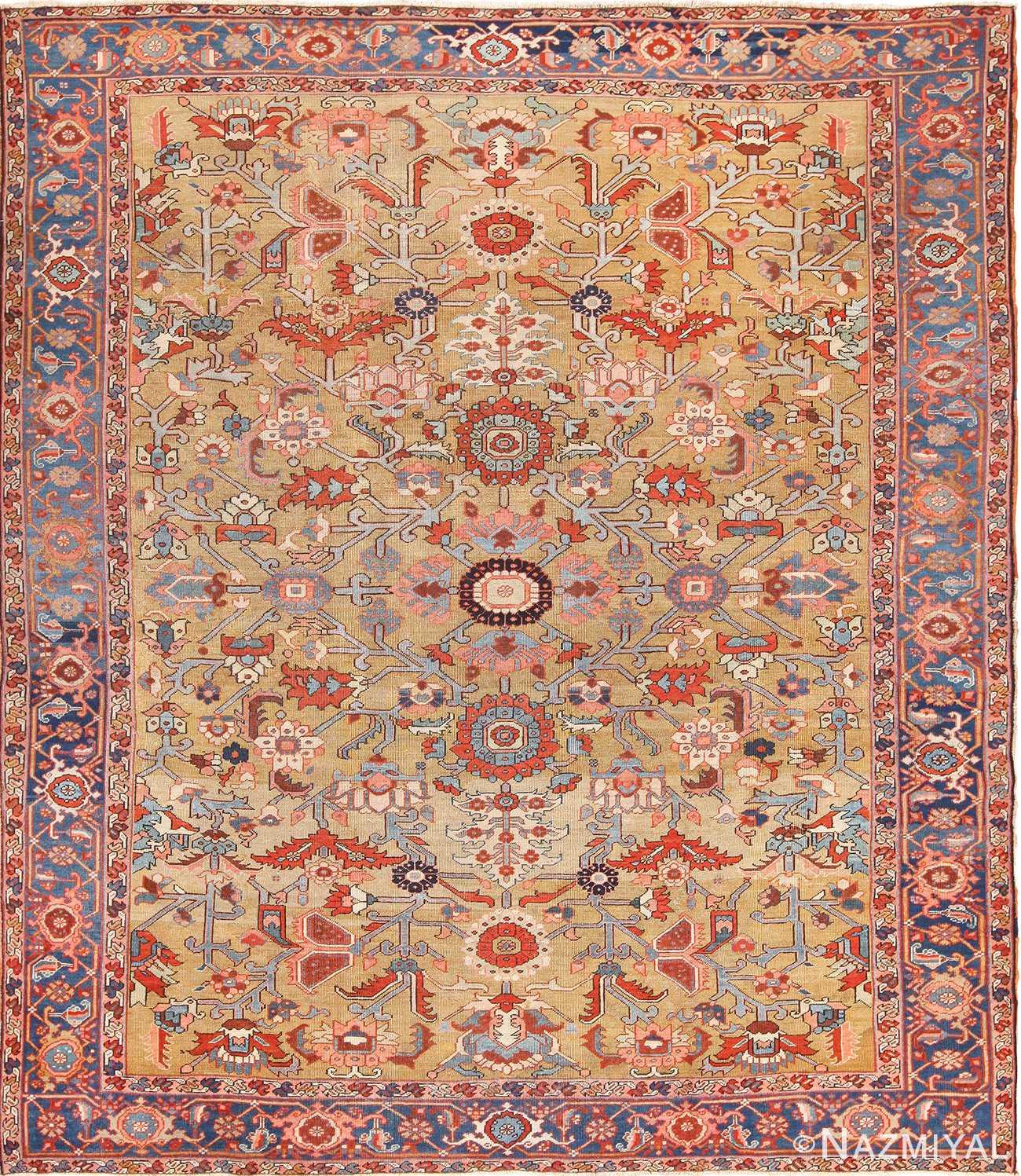 Vintage Persian Rugs: Gold Antique Persian Heriz Serapi Rug 49436 Nazmiyal Rugs