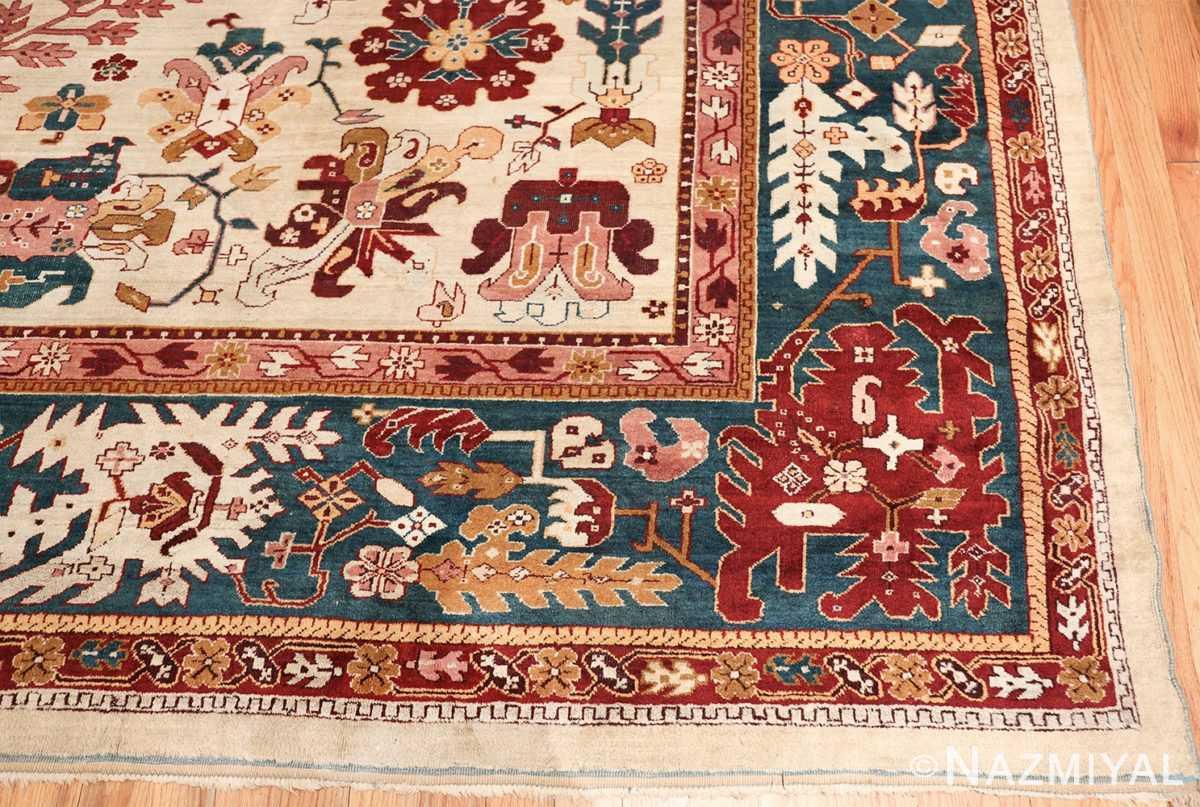 large antique ivory background agra indian rug 49588 corner Nazmiyal