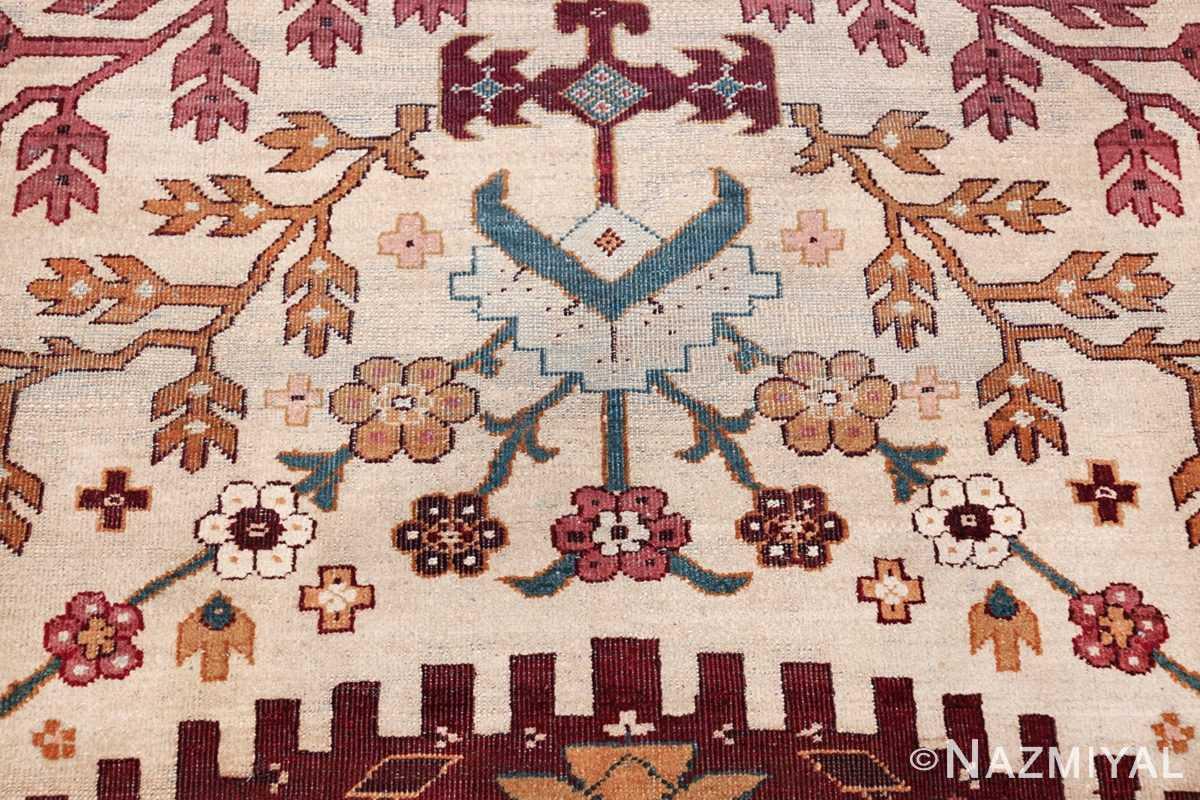 large antique ivory background agra indian rug 49588 flowers Nazmiyal