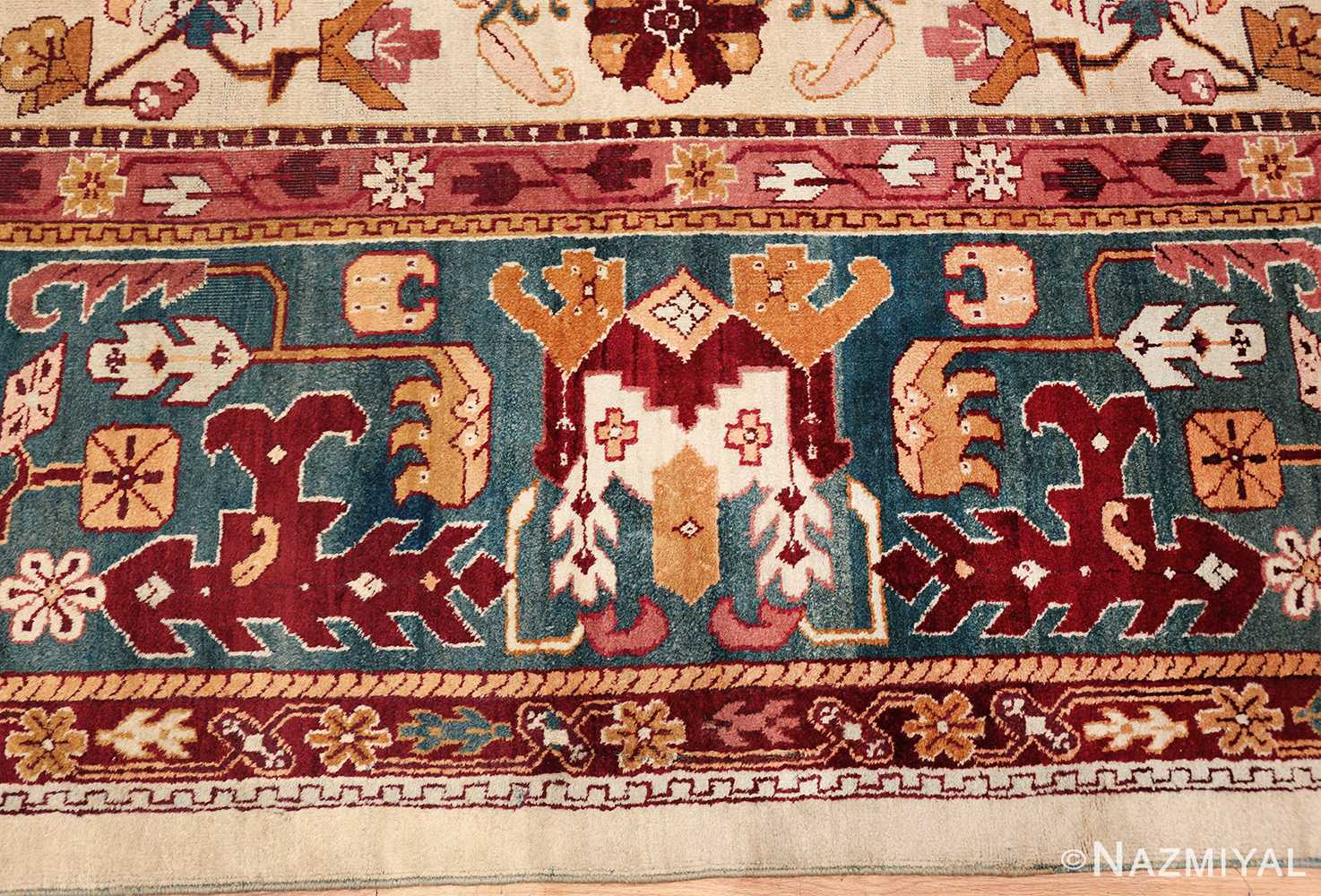 large antique ivory background agra indian rug 49588 geometric Nazmiyal
