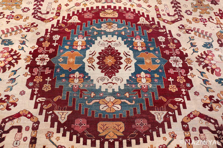 large antique ivory background agra indian rug 49588 medallion Nazmiyal