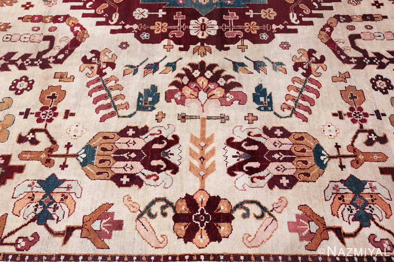 large antique ivory background agra indian rug 49588 part Nazmiyal