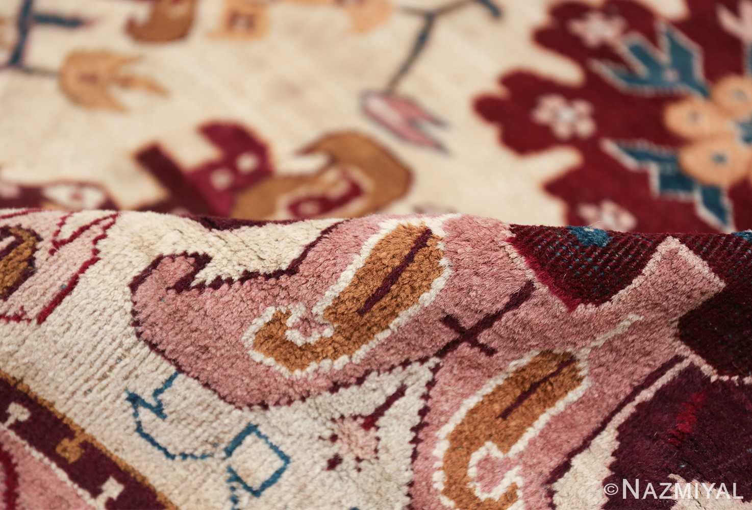 large antique ivory background agra indian rug 49588 pile Nazmiyal