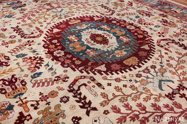 large antique ivory background agra indian rug 49588 side Nazmiyal
