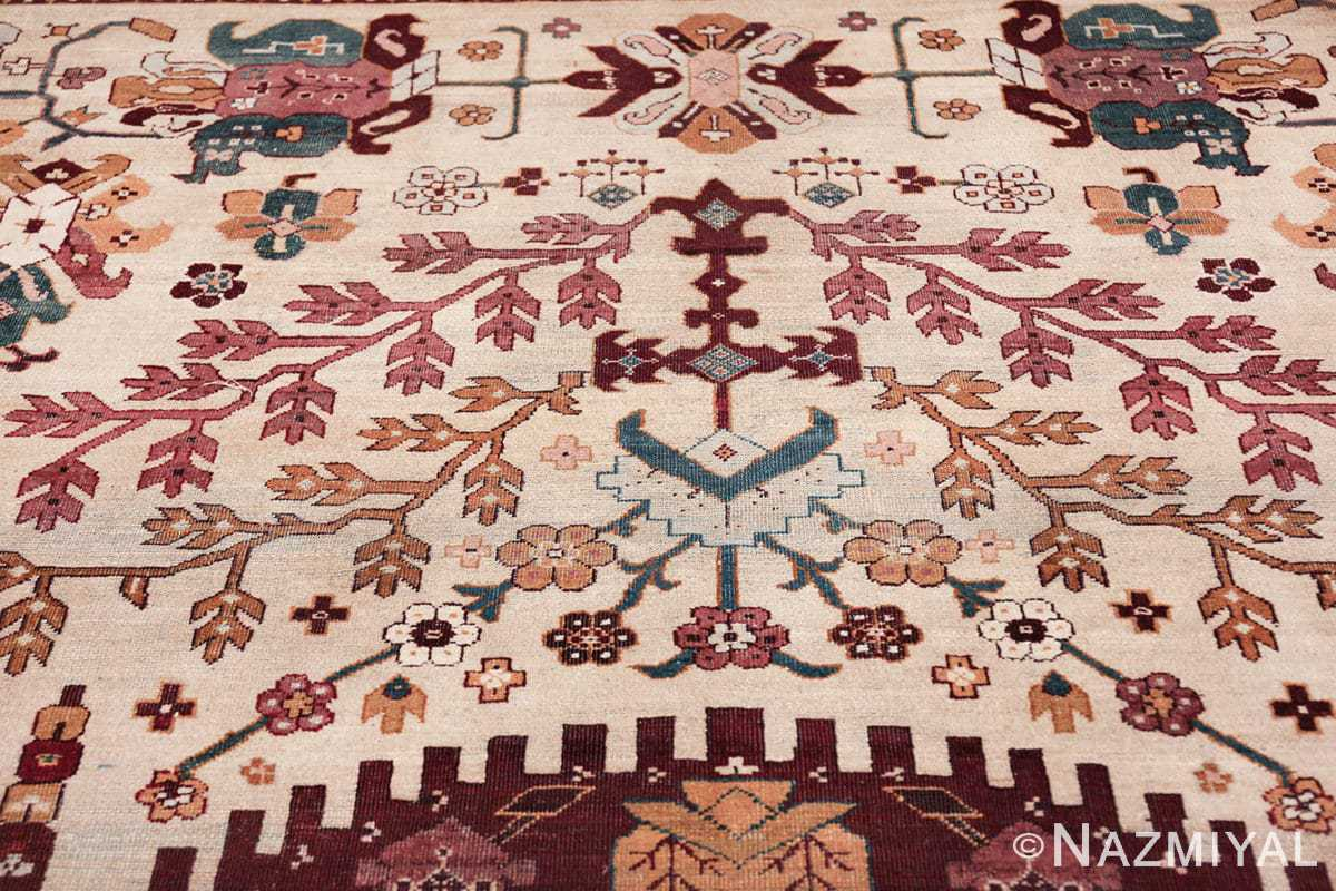 large antique ivory background agra indian rug 49588 tiara Nazmiyal