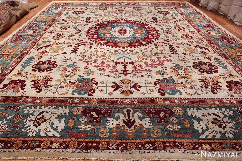 large antique ivory background agra indian rug 49588 whole Nazmiyal