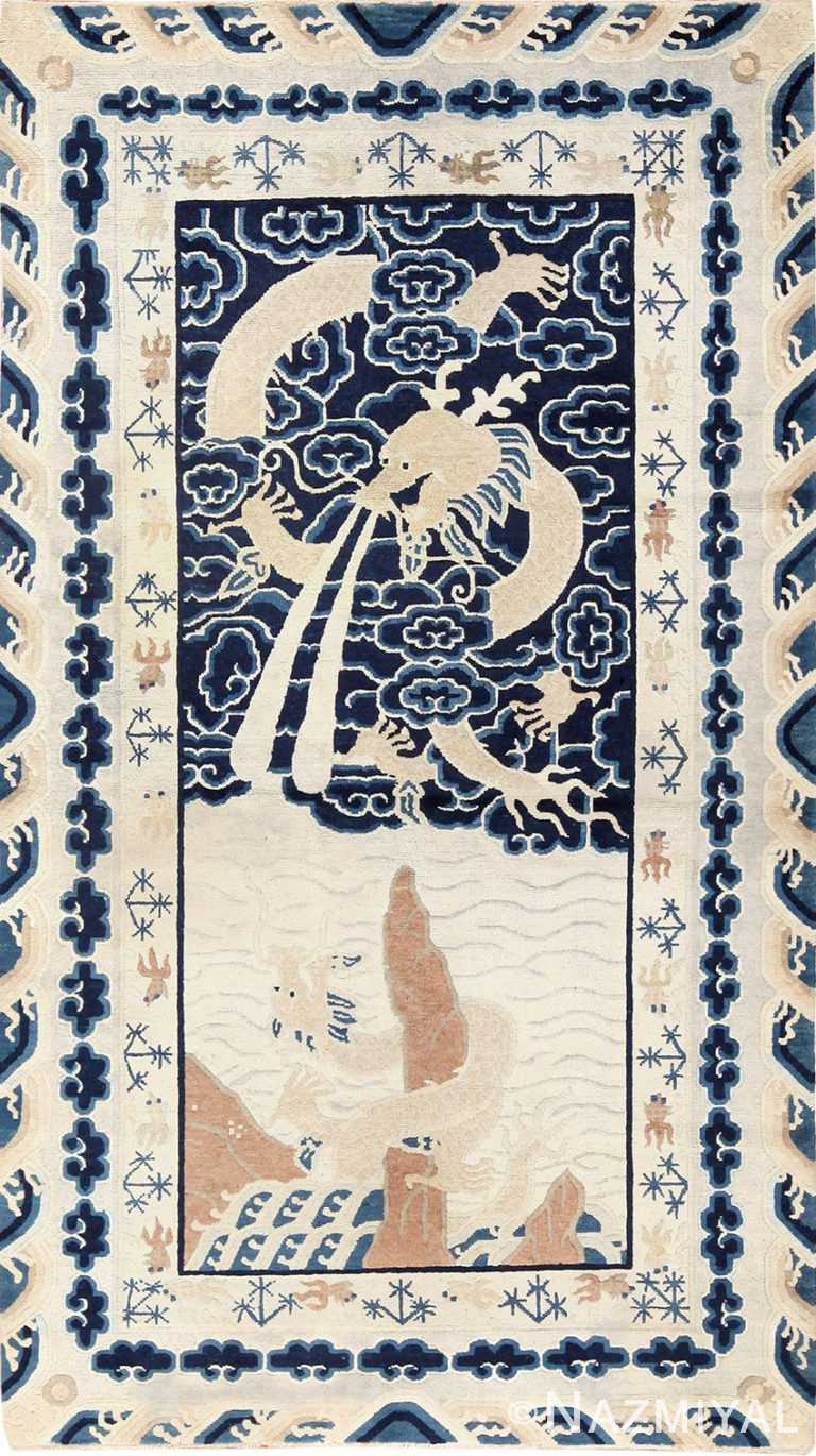 Small Scatter Size Antique Dragon Chinese Rug 49581 by Nazmiyal
