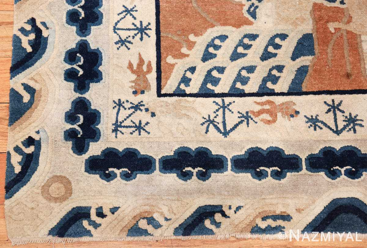 small size antique chinese rug 49581 corner Nazmiyal