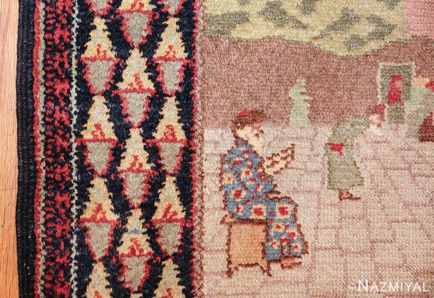 small size antique marbediah israeli rug 49589 border Nazmiyal