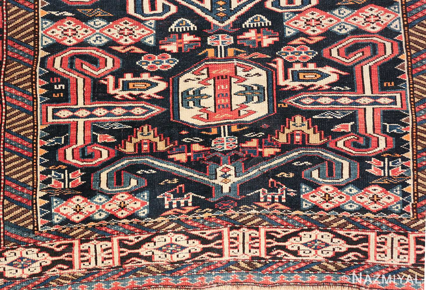 small size antique tribal perpedil caucasian rug 49540 down Nazmiyal